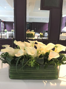 Modern Calla Lily and White Hydrangea Wedding - Headtable Arrangements - Flowerplustoronto