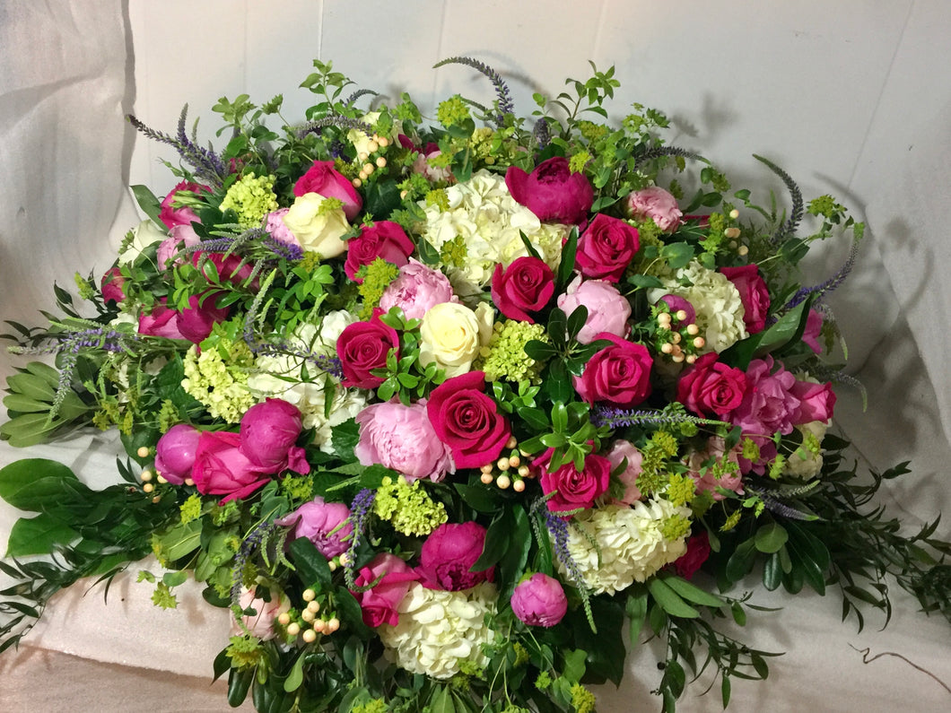 FNC27 - Lush English Garden Casket Arrangement - Flowerplustoronto