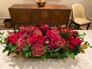 F121 - Lush Red and Burgandy Centrepiece - Flowerplustoronto