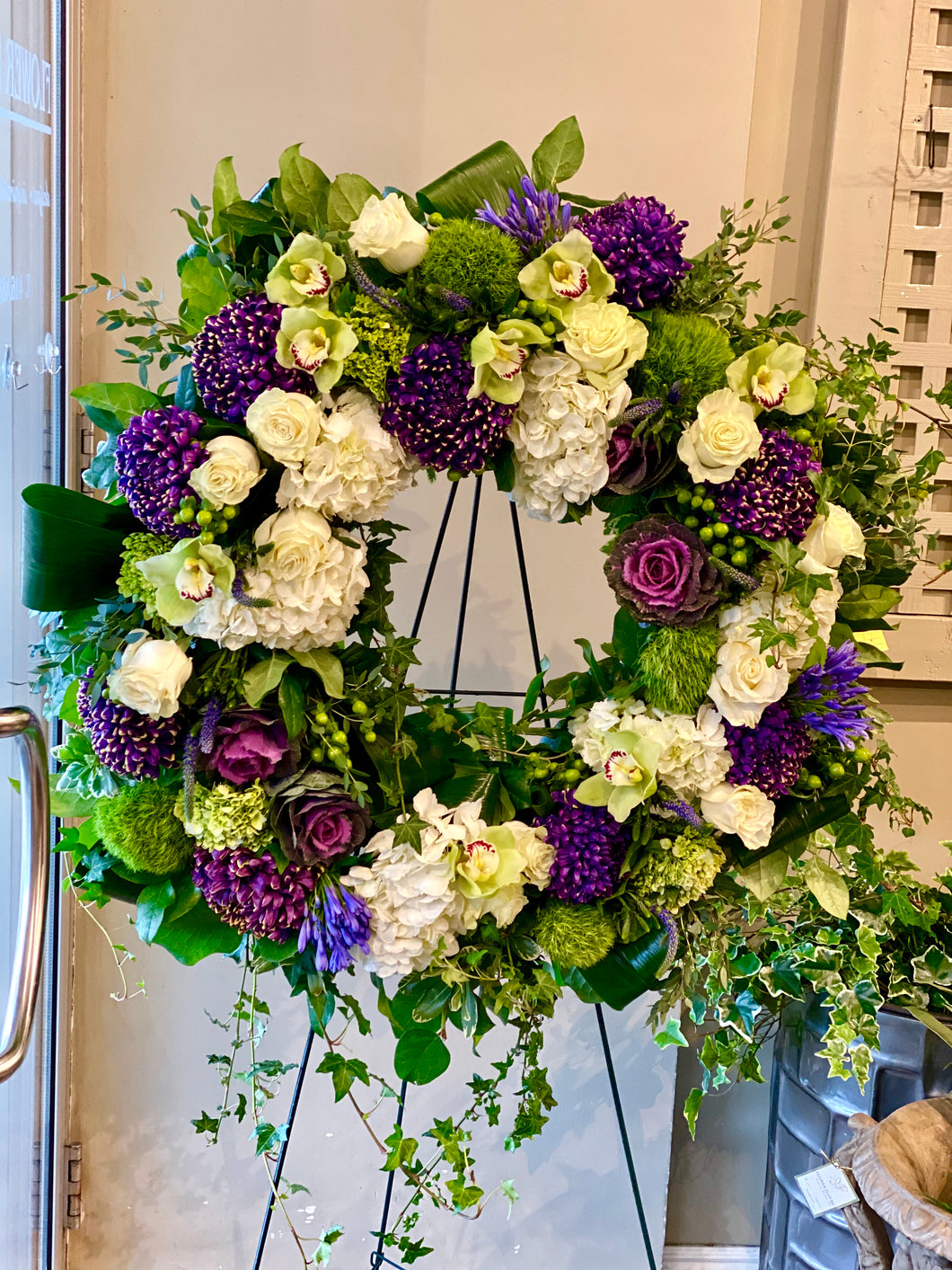 FNS1 - Modern White and Purple Wreath - Flowerplustoronto