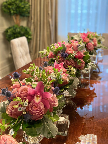 E11 - Roses and Cymbidium Orchids Centerpieces - Series Design - Flowerplustoronto