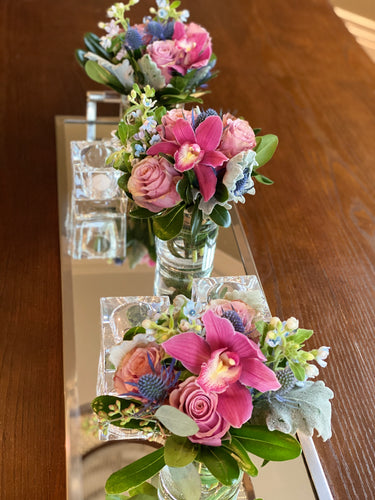 E12 - Roses and Cymbidium Orchids Centerpieces - Series Design - Flowerplustoronto