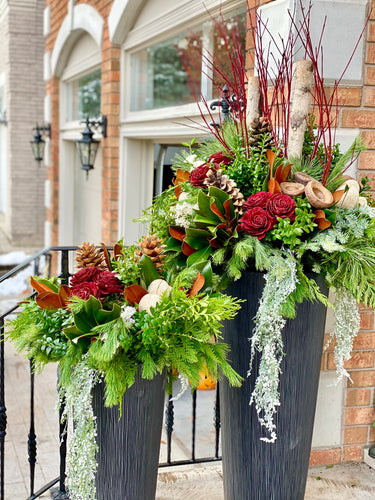 WP8 - Modern Winter Planter (Shorter arrangement) - Flowerplustoronto
