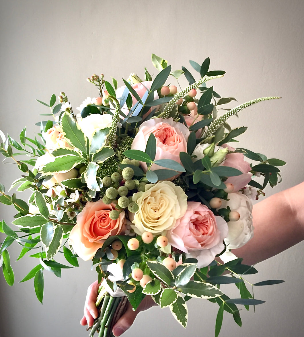 Peach and Ivory Hand-tied Bridal Bouquet - Flowerplustoronto