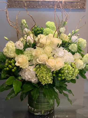 F68- Elegant White and Green Arrangement - Flowerplustoronto