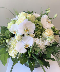 F67- Elegant White and Green Arrangement - Flowerplustoronto