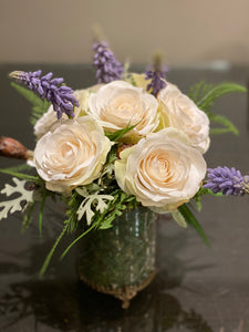 S16 - Delicate Ivory Rose Arrangement - Flowerplustoronto