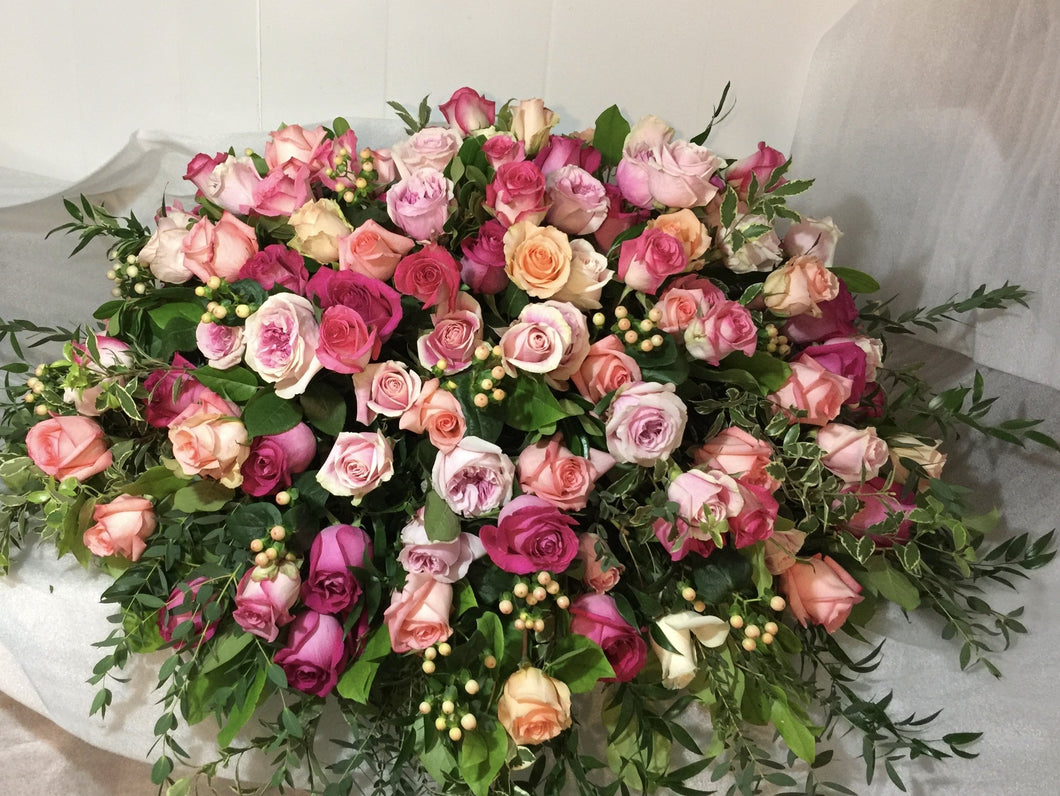 FNC25 - Lush Pastel Rose Casket Arrangement - Flowerplustoronto