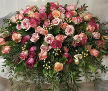 Load image into Gallery viewer, FNC25 - Lush Pastel Rose Casket Arrangement - Flowerplustoronto