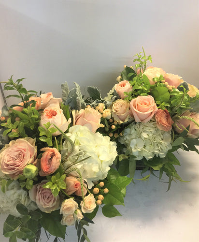E5 - Light Pink, Peach and Whites Table Centerpieces - Flowerplustoronto