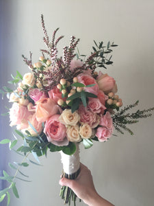 Watery Pastel Hand-tied Bridal Bouquet - Flowerplustoronto
