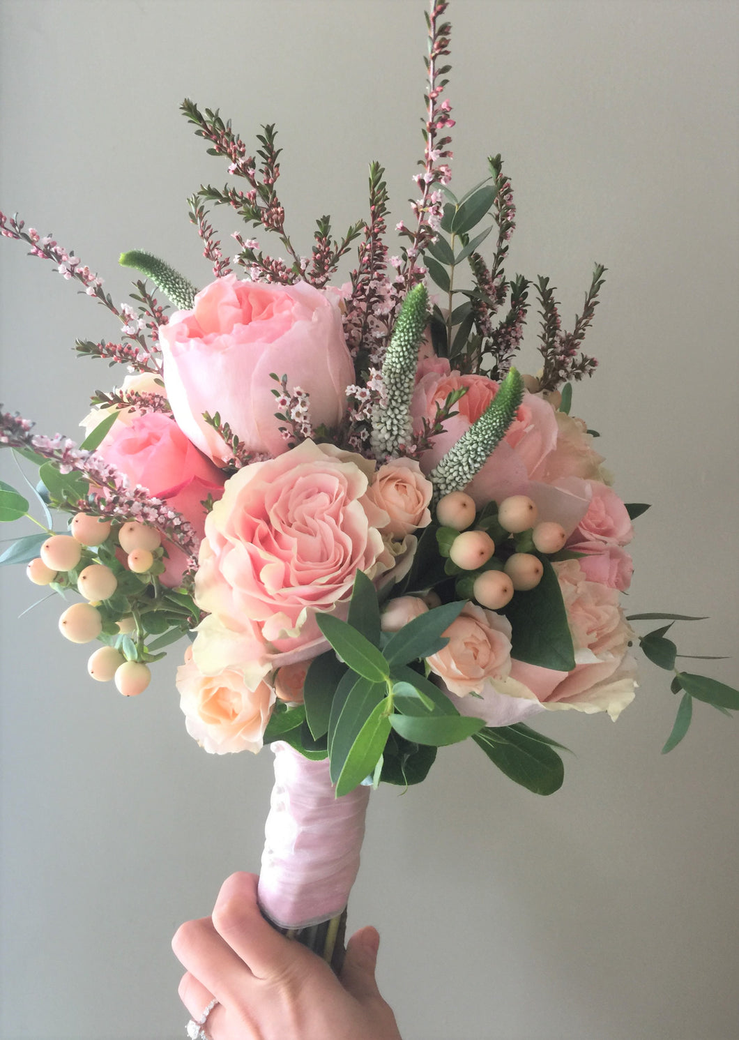 Watery Pastel Hand-tied Bridesmaid Bouquet - Flowerplustoronto