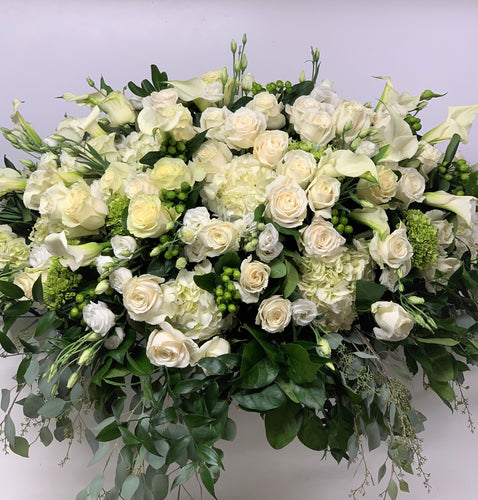 FNC23 - Classic White and Green Closed Casket Arrangement - Flowerplustoronto