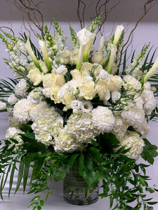 FNV144 - Classic White and Green Vase Arrangement - Flowerplustoronto
