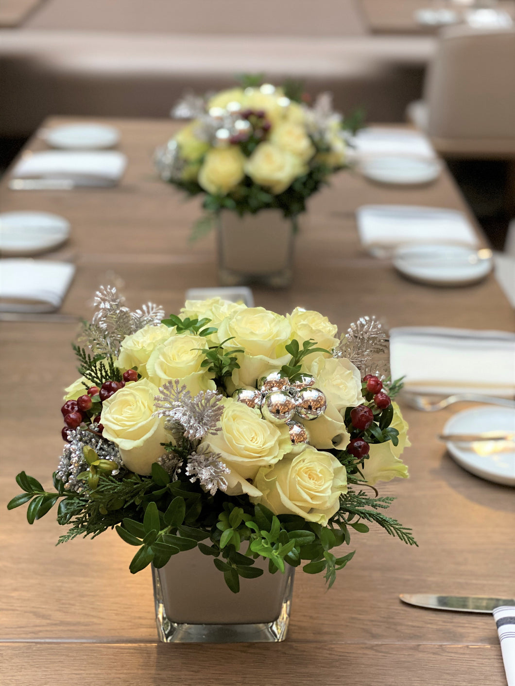 X57 - Festive White Rose Arrangement - Flowerplustoronto