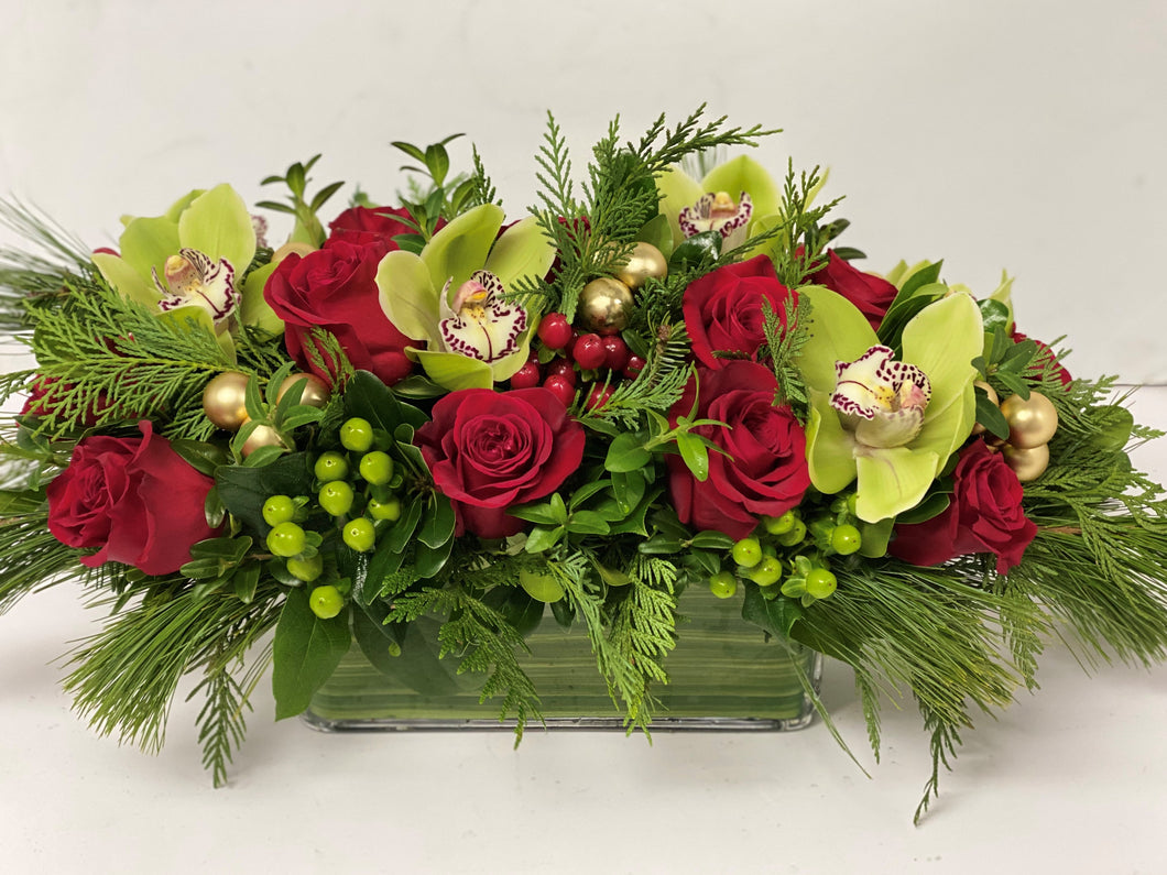 X14 -  Classic Holiday Rectangular Centerpiece - Flowerplustoronto
