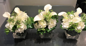 F131 - White Arrangements, Series Design Along the Table - Flowerplustoronto