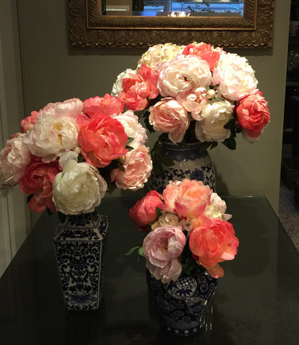 S21 - Lush Peonies in Series Arrangement for Round Foyer Table - Flowerplustoronto