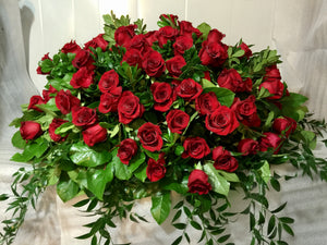 FNC30 - Classic Red Rose Open Casket Arrangement - Flowerplustoronto