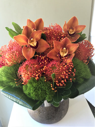 C21 - Modern Cymbidium and Pin Cushion Protea Arrangement - Flowerplustoronto