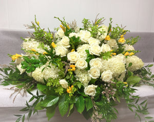 FNC5 - Elegant White and Yellow Open Casket Arrangement - Flowerplustoronto