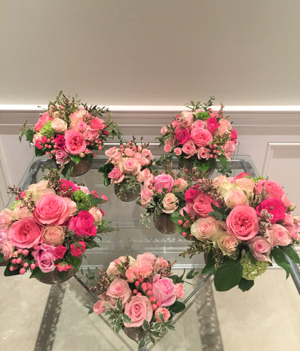 E45 - Shades of Pink Roses Centerpieces - Series Design - Flowerplustoronto