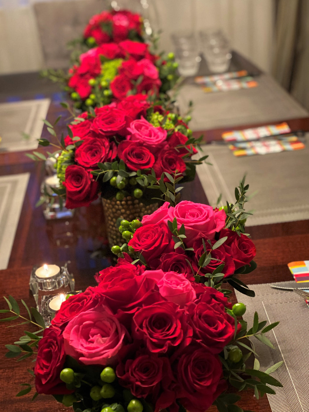 E23 - Hot Pink and Red Roses Centerpieces - Series Design - Flowerplustoronto