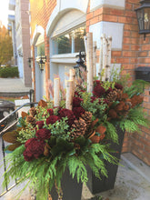 Load image into Gallery viewer, WP37 - Modern Winter Planter featuring Cedar Roses - Flowerplustoronto