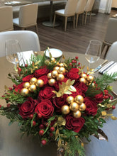 Load image into Gallery viewer, X55 - Festive Red Rose Round Centerpiece - Flowerplustoronto