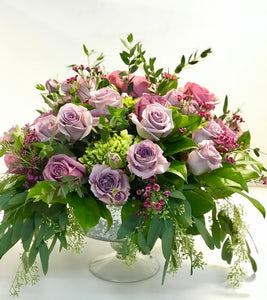 F127 - Romantic Lavender and Purple Centrepiece - Flowerplustoronto