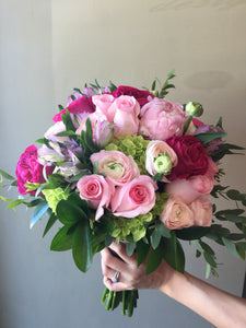 Modern shades of Pink and Lavender Hand-tied Bridal Bouquet - Flowerplustoronto