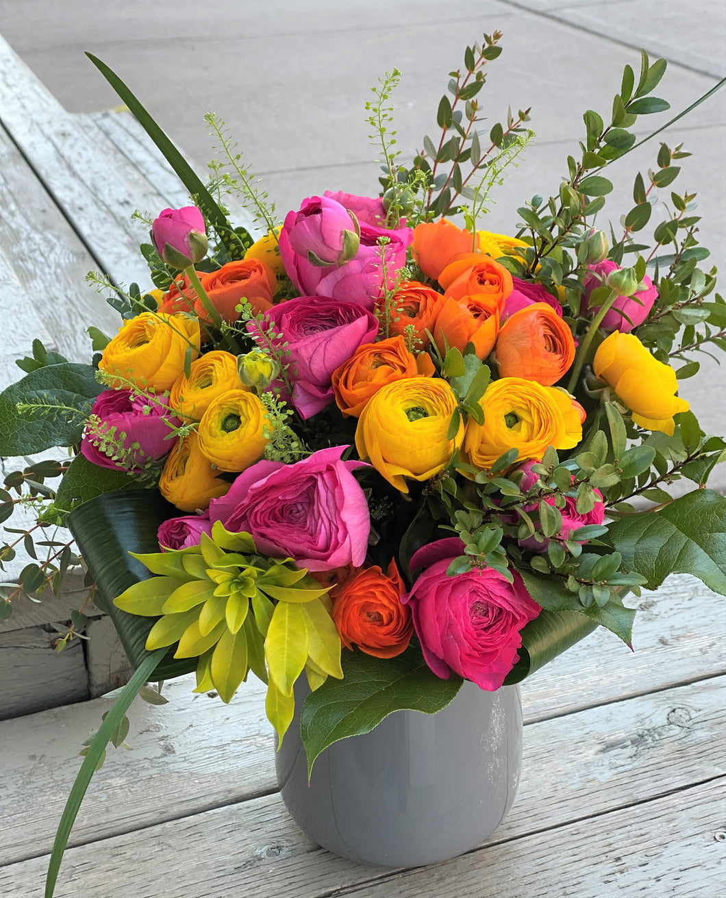 F37- Vibrant Ranunculus Vase Arrangement (Colours based on availability) - Flowerplustoronto
