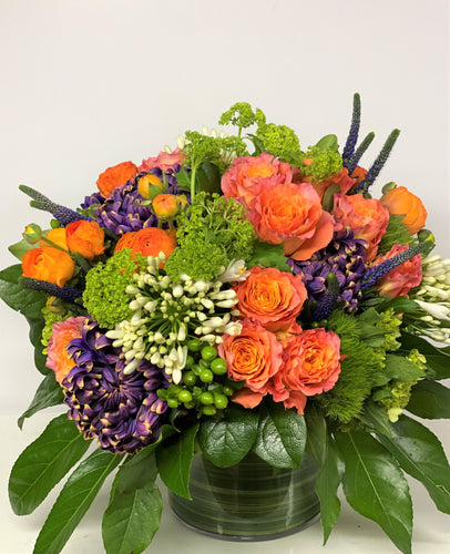C13 - Modern Orange and Purple Arrangement - Flowerplustoronto