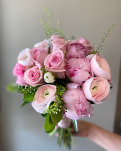 Delicate Shades of Pink Hand-tied Bridal Bouquet - Flowerplustoronto