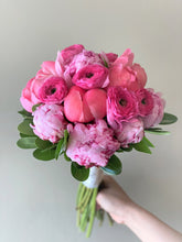 Load image into Gallery viewer, Shades of Pink and Coral Hand-tied Bridal Bouquet - Flowerplustoronto