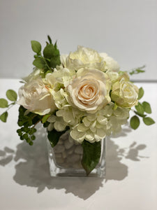 S25 - Classic White and Ivory English Garden Arrangement - Flowerplustoronto