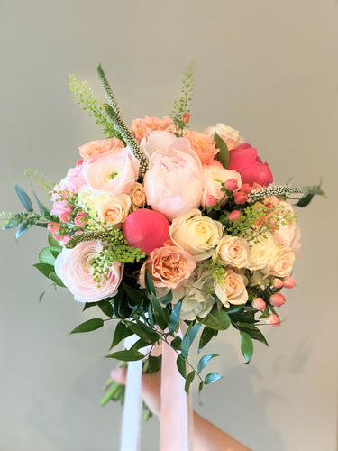 Blush, Peach and Coral Hand-tied Bridal Bouquet - Flowerplustoronto