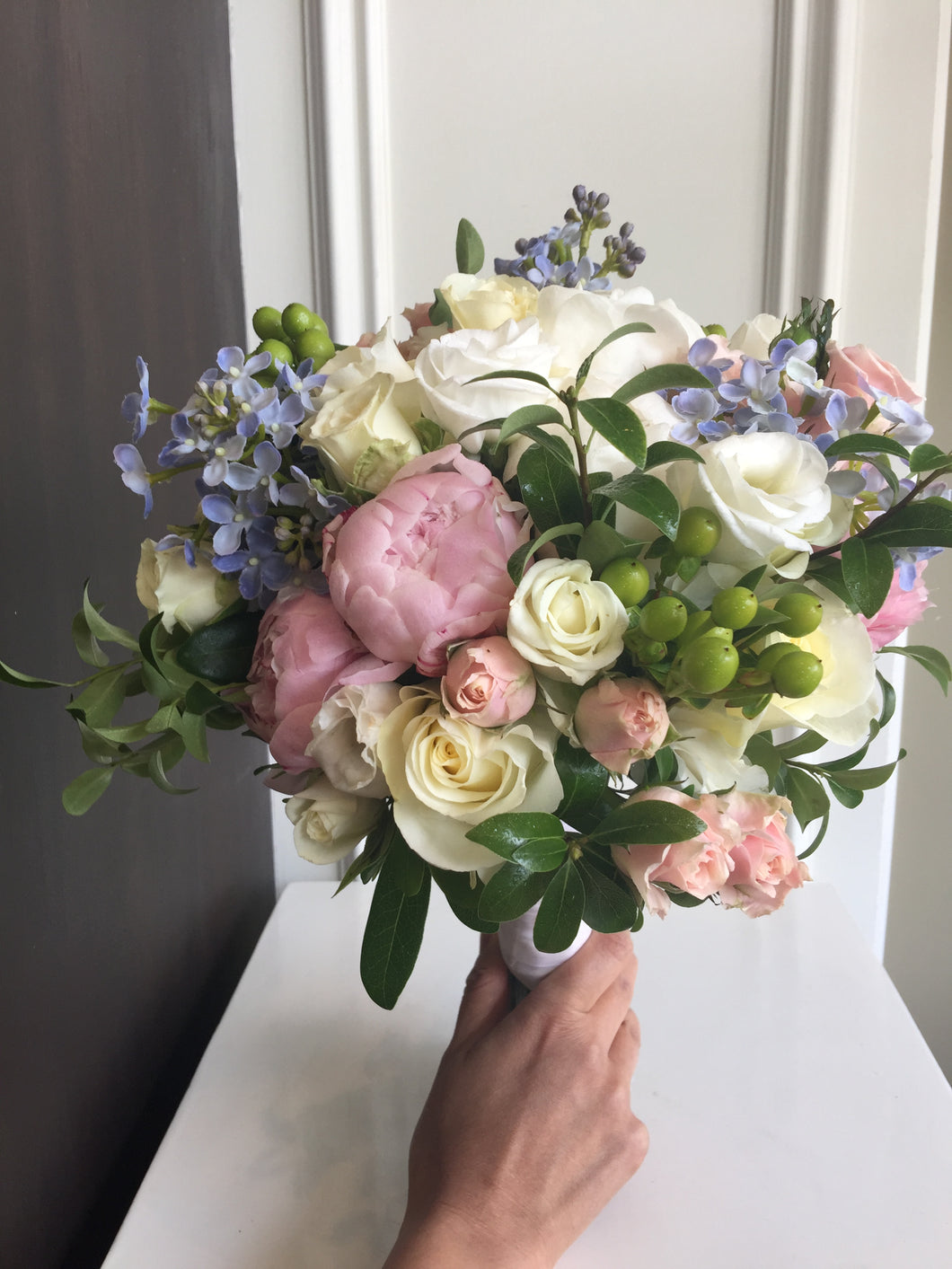 Delicate Light pink and Ivory Hand-tied Bridal Bouquet - Flowerplustoronto