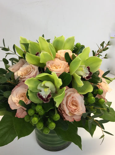 C19 - Modern Rose and Cymbidium Arrangement - Flowerplustoronto