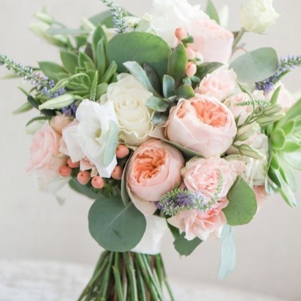 Garden Rose and Succulent Hand-tied Bridal Bouquet - Flowerplustoronto