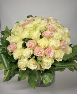 F16 - Classic White Rose Arrangement with Accent of Pink Roses - Flowerplustoronto
