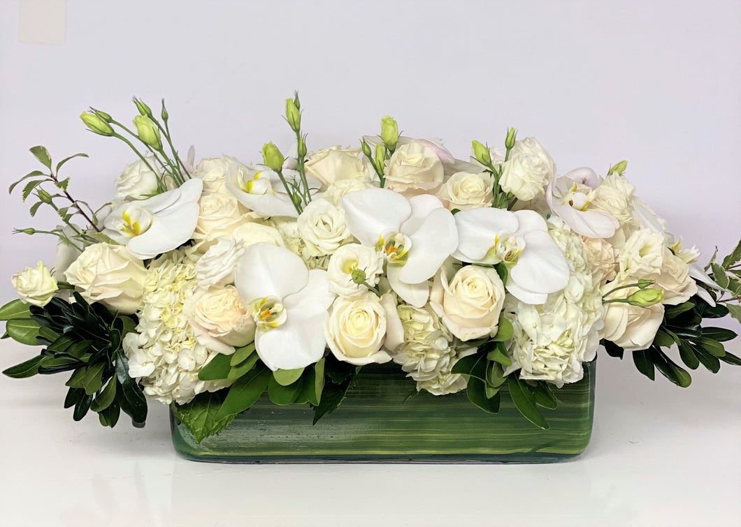 F128 - Modern White Rectangular Centerpiece accented with White Phalaenopsis - Flowerplustoronto