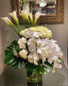 FNV92 - Modern White and Green Vase Arrangement - Flowerplustoronto