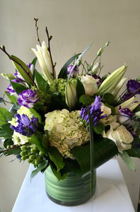 F178 - Modern Purple and White Arrangement - Flowerplustoronto