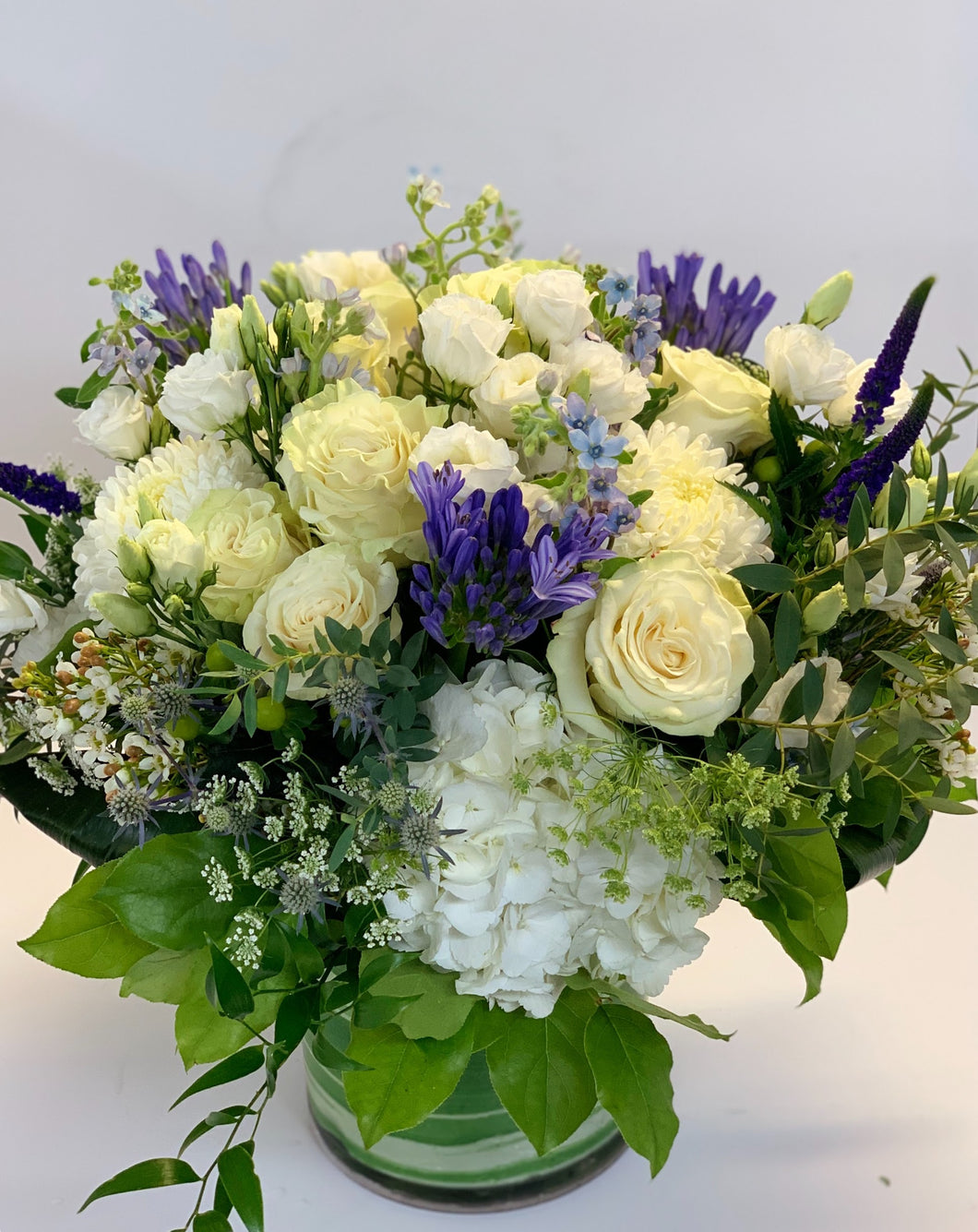 F38 - White, Purple and Blue Vase Arrangement - Flowerplustoronto