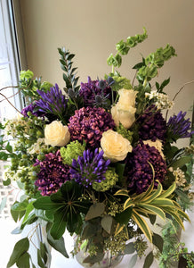 F166 - Elegant White, Purple and Chartreuse Vase Arrangement - Flowerplustoronto