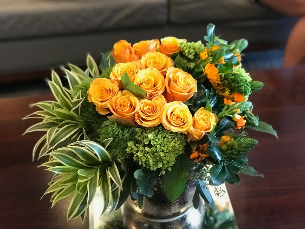 C18 - Modern Orange Rose and Green Hydrangea Arrangement - Flowerplustoronto