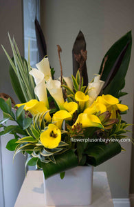 C37 - Elegant Callas and lush exotic greens - Flowerplustoronto