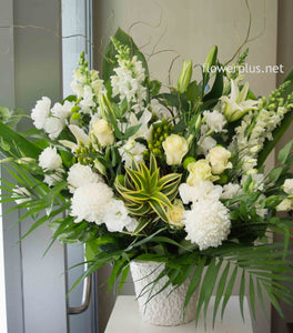 FNV20 - Classic White and Green Tribute Arrangement - Flowerplustoronto
