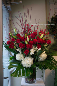 FNV56 - Red and White Vase Arrangement - Flowerplustoronto